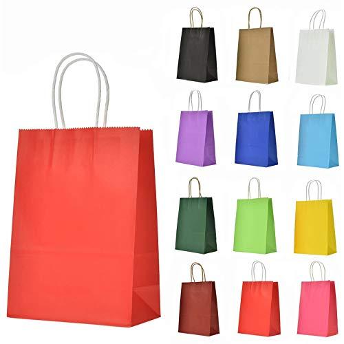 LivDeal 12 Stück Papiertüten aus Kraftpapier Geschenktüten mit Henkel Kindergeburtstag Mitgebsel Tüten für Weihnachten Partys, Hochzeiten, Feiern und Süßigkeiten, ca 16 x 22 x 8 cm, farbig Sortiert