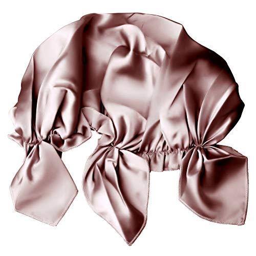 ZHIYE 100 Mulberry Silk Night Sleep Cap Bonnet Natural Silk Women Sleeping Hat for Hair Loss 19 Momme Soft with Adjustable Elastic Ribbon Black