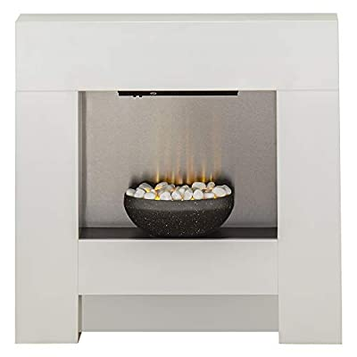 Adam Cubist Electric Fireplace Suite in White, 36 Inch