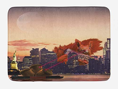 ABAKUHAUS Animal Tapete para Baño, Gran Ciudad de Nueva York de Dibujos Animados Ardilla, Decorativo de Felpa Estampada con Dorso Antideslizante, 45 cm x 75 cm, Multicolor
