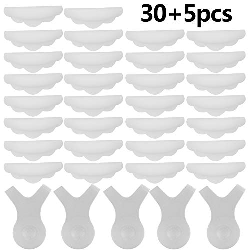 30 Pieces Silicone Eyelash Perming Curler Shield Pads Lash Lift Rods Makeup Tools Lash Lifting Shield Pads Makeup Utensil Reusable Eyelashing Perming Curler with 5 Pieces Lash Y Brush