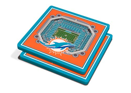 """YouTheFan NFL 3D Team StadiumViews 4x4 Coasters - Set of 2, Miami Dolphins, 4"""" x 4"""", Team Color"""