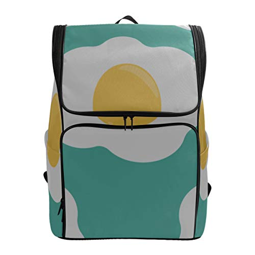 Fried Eggs Yummy Breakfast Quality Daypack Hiking Backpack Bag Best Bookbag Sports Bag Women Fits 15.6 Inch Laptop And Notebook Carry On Travel Bag Lightweight Daypack For Women