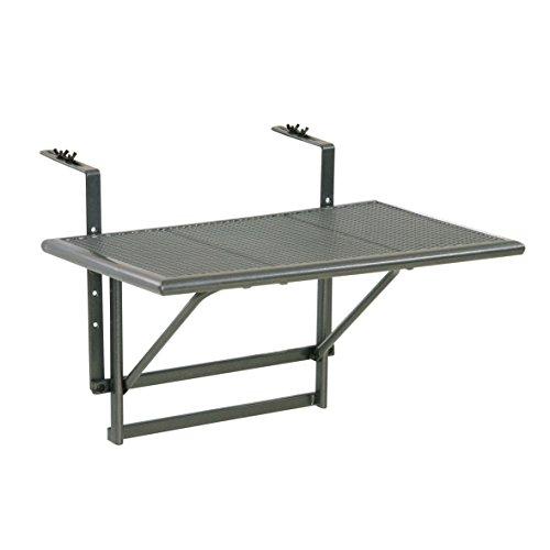Ribelli® Tavolino da Balcone tavolino da Appendere alla ringhiera del Balcone, in Acciaio Rivestito in plastica, Regolabile in Altezza su 4 Livelli, ca. 60 x 40 x 56 cm, Grigio Ferro