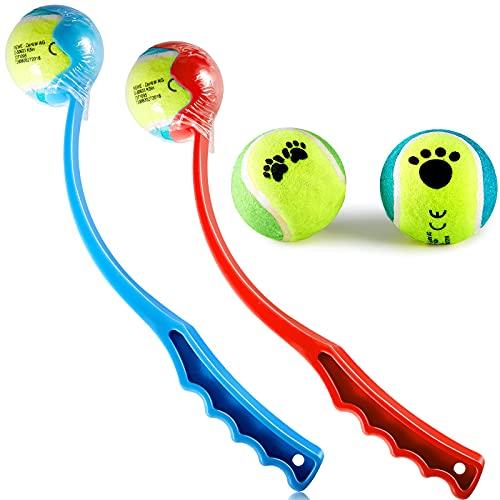 2 Stücke Hundeball Werfer mit Extra 2 Stücke Hundespielzeug Tennisball Hundeball Werfer Kurzer Werfer Freihändiger Hundeball Aufheben und Werfen Spielen Rot und Blau 36cm/ 14 Zoll