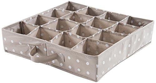 COMPACTOR Organizer per cassetti, 16 Scomparti, Per biancheria intima e accessori, Polipropilene non tessuto, Marrone, 40 x 40 x H. 9 cm, RAN4402_Brown