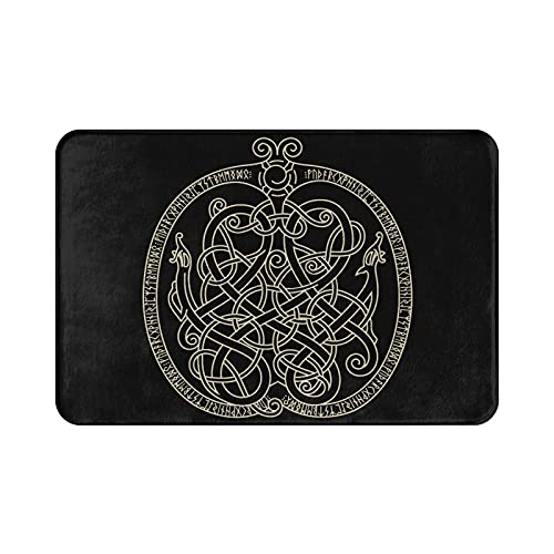 Ancient Decorative Dragon Celtic Style Welcome Mat for Front Door, Entrance Door Mat for Entry Inside Outside, Non-Slip Waterproof Durable Outdoor Rug