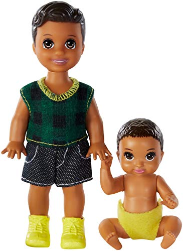 Barbie Skipper Babysitters Inc. Dolls, 2 Pack of Sibling Dolls Includes Small Toddler Doll and Baby Doll in Diaper, for 3 to 7 Year Olds