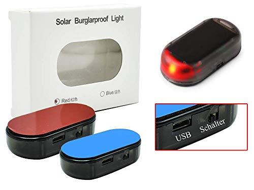 USB + SOLAR Auto Alarmanlage Dummy Imitation Diebstahlsicherung Attrappe