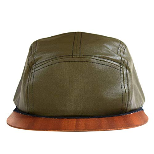 Cap olivgrün mit edlem Holzschild Made in Germany - Basecap für Damen & Herren - Sehr leichte & bequeme Kappe - One size fits all Snapback - Cappy wasserabweisend