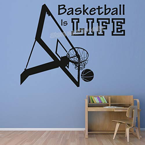Basketball Ist Leben Sport Quote Wandaufkleber Basketballkorb Sport Aufkleber Kindergarten Teens Jungen Zimmer Kunst Wohnkultur poster 56X46 CM