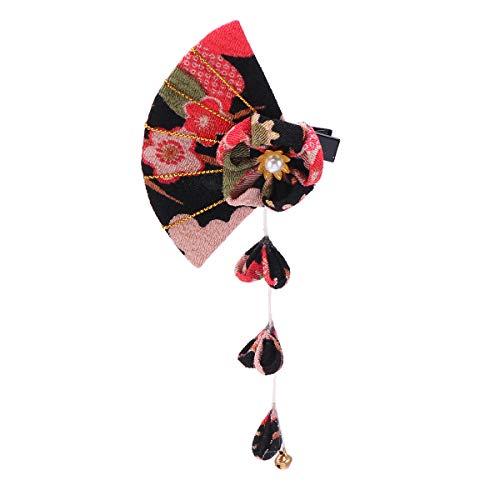 Happyyami tela hecha a mano de estilo japonés horquilla decoración de flores pinza para el cabello sakura tocado de borla para mujer mujer dama (negro)