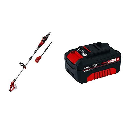 Einhell 3410800 GE-HC 18 Li T-Solo - Herramienta Multifunción Jardín, Pack Motosierra y Cortasetos + 4511396 Power X-Change - Batería de repuesto, 18 V, 4.0 Ah, duración de carga de 60 minutos