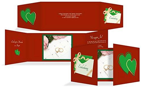 Hochzeitskarten: Hochzeitseinladung Eheglück, hochwertige Einladung zur Heirat inklusive Umschläge | 15 Karten (format: 215.00x105.00mm) color: Orange
