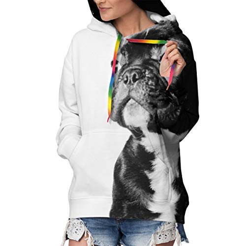 Girls Ladies Fitted Long Sleeves Pullover Hoodie Hooded Sweatshirt Outwear Tunic Tops for Riding Fishing Date, 3D Printed Hoodies with Pocket (Black French Bulldog White)