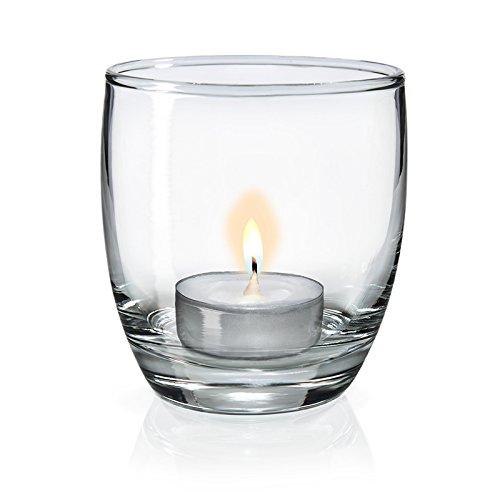 SIXBY Teelichtgläser - Windlicht Gläser - Tischdeko Atika Ø 72,5 mm, Höhe 81 mm (12 Stück)