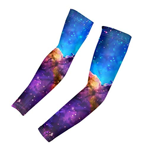 GIFTPUZZ 2pcs Arm Sleeves Compression Cooling UV Protection Sun Sleeves Long Arm Cover Warmers Men Women Outdoor Sports Running Golf Cycling Fishing Sunblock Tattoo Cover Purple Nebula Large