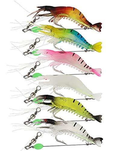 Facikono Saltwater Shrimp Fishing Lures Set, Luminous Soft Plastic Swimbait Shrimp Rig Tackle for...