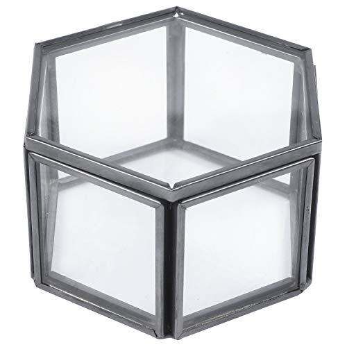 Bopfimer Joyero de cristal transparente geométrico para organizar joyas, bandeja de mesa, contenedor para plantas suculentas, almacenamiento de joyas, color negro