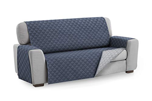 Textil-home Sesselschoner Sofaüberwurf MALU, 3 Sitzer - Reversibel gepolsterter Sofaschutz. Farbe Blau