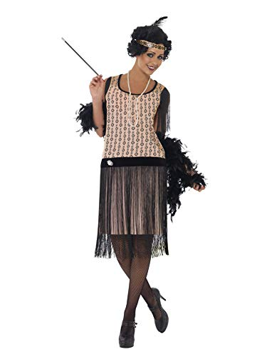 Smiffys- Disfraz de Chica Coco a la Moda de los años 20, Vestido, Boquilla, Collar y Adorno para el Pelo, Color Rosado, M - EU Tamaño 40-42 (Smiffy'S 28820M)