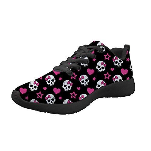 Showudesigns Damen-Sneaker für Teenager, Mädchen, Laufschuhe, Sportschuhe, Outdoor, Walking, flache Schuhe, - totenkopf - Größe: 37 EU