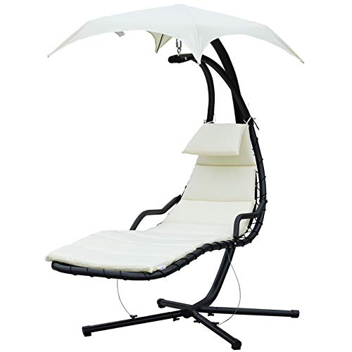 Outsunny Poltrona Sdraio Relax Chaise Lounge Lettino Prendisole con Tettuccio Giardino Crema 190 × 115 × 190cm