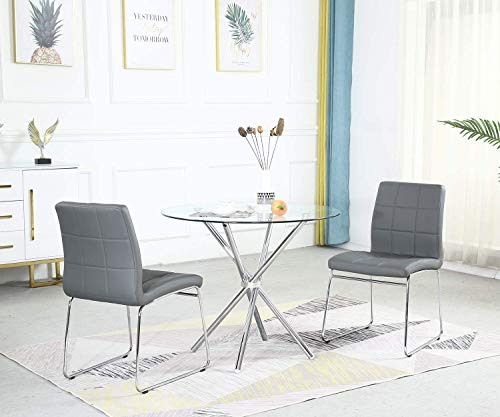 STYLIFING Dining Table and Chairs Set Round Clear Glass Top with Chrome Metal Legs Kitchen Table and 2 Sled Based Grey Faux Leather Chairs Dining Set