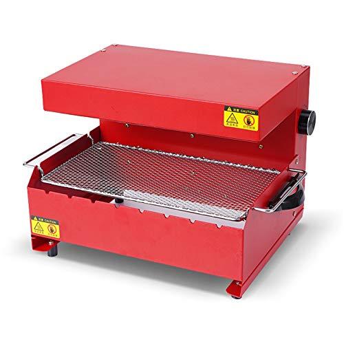 LVYE1 MRMF Plancha De Cocina Barbacoa De Mesa Barbacoa Eléctrica, Plancha De Asar Electrica Parrilla Plancha Grill De Cocina Antiadherente, 1000W, Temperatura Regulable,Rojo