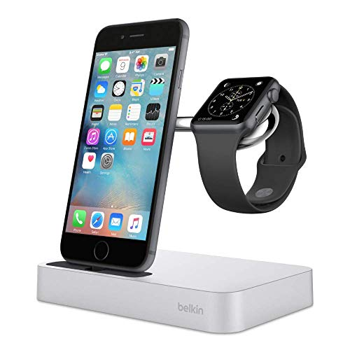 Belkin Valet Charge Dock for Apple Watch + iPhone, iPhone Charging Dock for iPhone Xs, XS Max, XR, X, 8/8 Plus and More, Apple Watch Series 4, 3, 2, 1, Silver (Renewed)