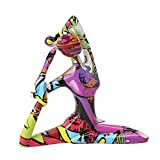 perfk Escultura de Resina de Yoga Figuras pintadas Estatua de Chica de Yoga decoración de jardín...
