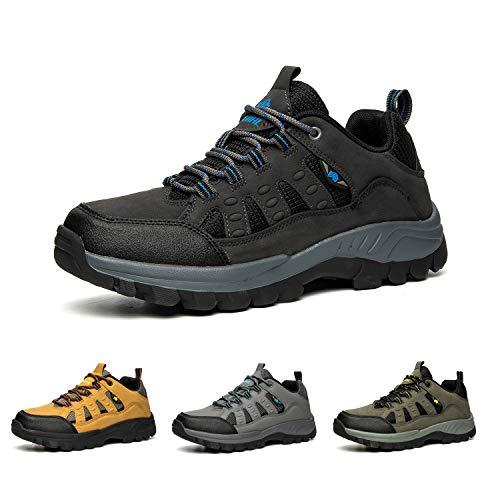 Bandkos Wanderschuhe Herren Trekkingschuhe Leicht Atmungsaktiv Sports Outdoor Hiking Sneaker Anti-Rutsch Schwarz Grau Grün Khaki Größe 39-47,BK42