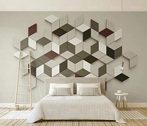 Fotobehang voor de woonkamer, slaapkamer, behang, 3D driedimensionale ruit, mozaïek, moderne minimalistische tv-achtergrond muurschildering 200 * 140cm 3D Mural.