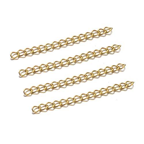 MURUI SS01 50 unids Gold 50mm Base de Acero Inoxidable Pulsera de la Pulsera Cadena de Cola Collar a Granel Cadenas de extensión para la joyería de Bricolaje YC527 (Color : Gold)