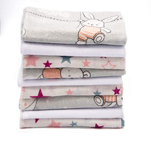 Clevere Kids saugstarke Spucktücher | 9er-Pack | Flanell Sterne | 38x38 | Babytücher | OEKO-TEX (Hase und Bär rosa)