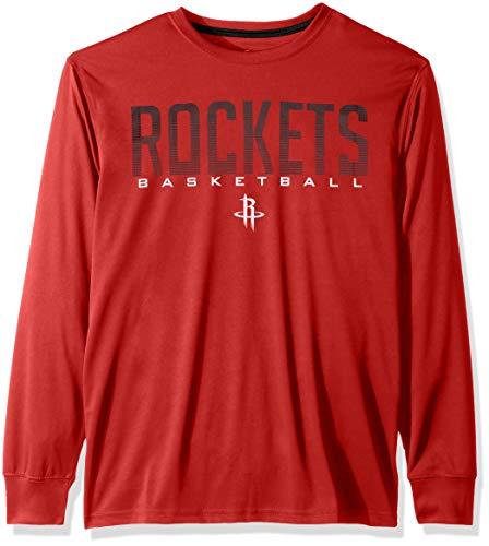 Ultra Game NBA Houston Rockets Mens Active Long Sleeve Tee Shirt, Team Color, X-Large