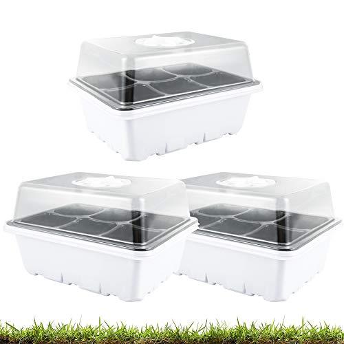 3 bandejas de arranque para plantas, bandejas para plantas con cúpulas ventiladas, kit de propagación para plantas en invernadero (6 celdas para bandeja, 3 unidades)