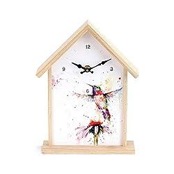 DEMDACO Hummingbird Birdhouse Watercolor Red 10 x 7 Wood and Canvas Wall and Shelf Clock