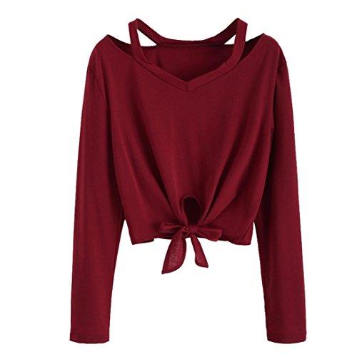 ESAILQ Mode Frauen Bogen Tops Langarm Aushöhlen V- Casual T-Shirt Bluse (S, Wein)