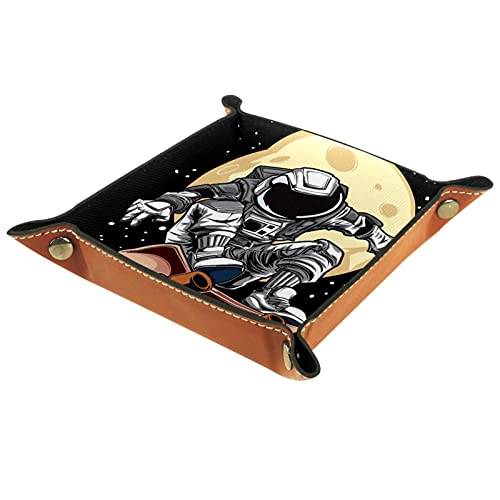 Astronaut spielt Skateboard Yellow Moon Leder Tablett Nachttisch Aufbewahrungstablett Herren Damen Schmuck Aufbewahrungsbox Schlüssel Portemonnaie Münzbox Reise PU Valet Tray