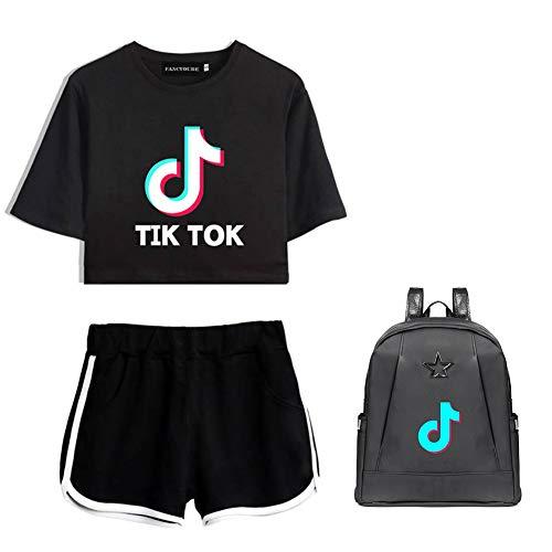 Lady Bug TIK Tok Camiseta   pantalones cortos   mochila casual traje de moda Negro