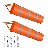 Dadabig 2 Stück Windsäcke für den Garten, Orange Windsack mit reflektierenden Streifen Polyester...