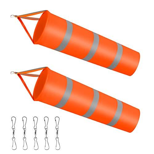 Dadabig 2 Stück Windsäcke für den Garten, Orange Windsack mit reflektierenden Streifen Polyester Gürtel Wetterfeste Wind Socke Tasche zur Windmessung für draußen Outdoor Garten Flughafen Rasen(80CM)