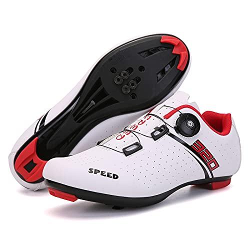 CHUIKUAJ Zapatillas de Ciclismo para Hombre, para Mujer, Cordón de Zapatos con Tacos Compatibles Peloton con Zapatos de Bicicleta con Pedal de Bloqueo SPD,White-46EU