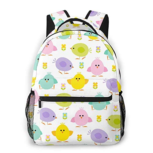 Lawenp Fashion Unisex Backpack Colors Simple Chicks Pattern Bookbag Lightweight Laptop Bag for School Travel Outdoor Camping