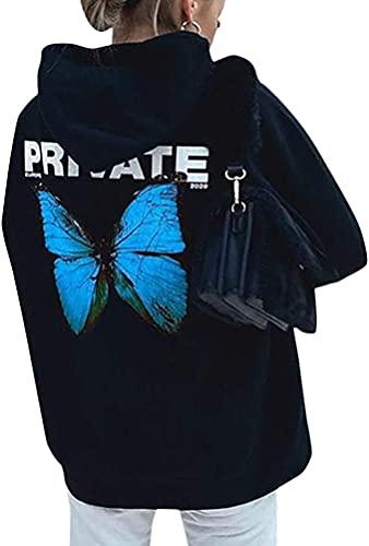Tomwell Sommer Elegante Damen Große Größe Frauen Schmetterling Druck Oansatz Schwarz T-Shirt Kurzarm Casual Täglichen Party Tops Bluse rückenfrei Pullover A Blau XS