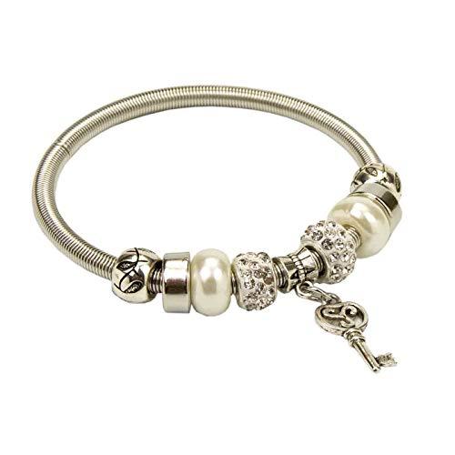 Lote de 10 Elegantes Pulseras Elásticas con Perlas y Colgante