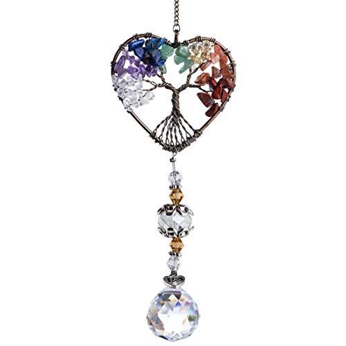 MZSM Colgante de cristal Suncatcher Rainbow Maker forma de Corazón árbol de Vida Colgante Adorno para Decoración en Hogar, Bodas y Fiestas