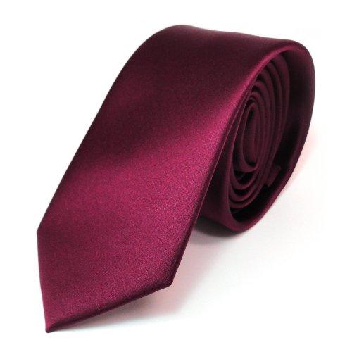 TigerTie schmale Satin Krawatte in rot bordeaux einfarbig uni