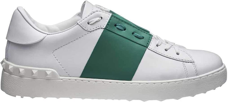 Valentino Herren Mens Open Colour Block Leder Spikes Schuhe Turnschuhe Turnschuhe Farbe  Weiss Gre  39,5